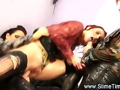 Lesbian glamour girl on girl in bukkake action