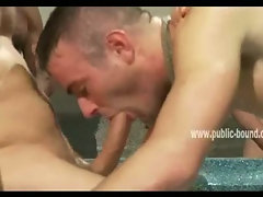 Old and young gays near a small inside pool spank boy preparing him for a nice group sex