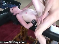 Old guy fucking hard a cute
