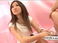 Japanese amateur gives a bizarre CFNM wash and handjob