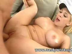 Busty gal hardcore action