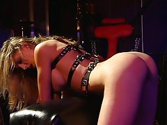 Blond slave BDSM mistress fetish session