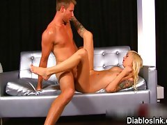 Cute blonde gets her pink tight rock