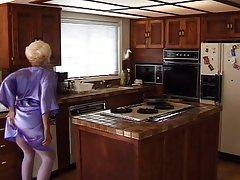 Mature kitchen double penetration