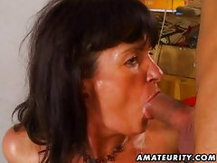 Amateur wife anal and blowjob with cum