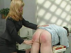 Blonde fetish femdom spanking the employee