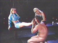 Femdom slave foot fetish play