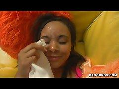 Latina babe Monica Morales gets an eyeball cumshot