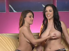 Double striptease with Andie Valentino and Jelena Jensen's big tits