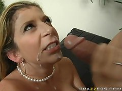Sara Jay with big tits enjoys hot cum shot sprayed on her mouth