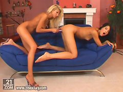 Blonde Clara G and her sexy lesbian friends play with a dildo