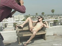 Hot solo teen Sasha Grey in a stunning outdoor photoshoot session
