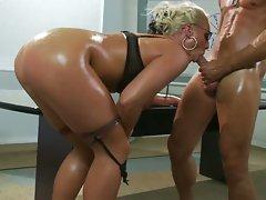 Busty tatoo Milf Sadie Swede lick a big dick and get hardcore in anal