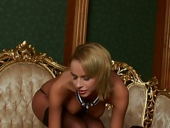 Dorthy Green gets so horny on the sofa shes gotta finger herself