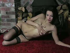 Chelsea gets on the floor and gets kinky and moist, ready to play
