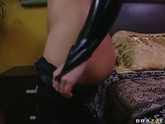 Big-breasted Katja Kassin puts on a skin tight leather undies