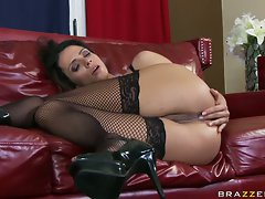 Ariella Ferrera gets a creampie after she gets fucked hard by a dick