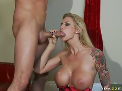 Brooke Biggs on red couch indoor hot acts welcomes jizz cum shot of big dick