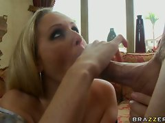 Big boobed Julia Ann getting a dick in an and out her mouth by her boyfriend