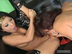 Busty lesbians Asa Akira and Jayden Cole enjoy licking each others pussies