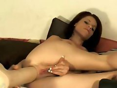 Happy tart with a hot pipe cleaner takes Mr. Big Dildo up her butt