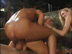 Blonde Camilla with a nice ass gets it drilled with a DP and cumshot