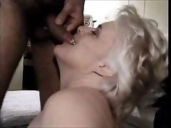 70 yo blonde granny still eating cock and getting banged with a facial