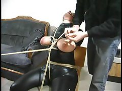 Calm wag-tail with a jealous canal gets bound in her black latex