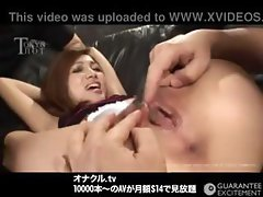 Japanese model gets fingered and licked, eats cock and gets drilled