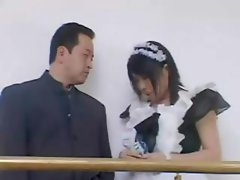 Busty Asian maid Rin Aoki gets fingered and banged in group