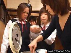 Asian students tasting man jizz