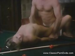 Classic porn with young, rich blonde getting nailed on pool table