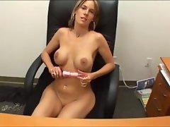 Busty blonde MILF secretary fingers pussy and titty fucks boss