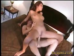 Asian whore gets shaved pussy fucked