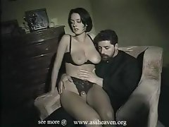Brunette Monica Roccaforte eats his cock and then gets nailed