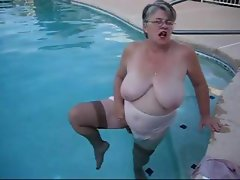 Witty tumble with an adaptable prayer muffin musses around in the pool