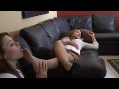She smells and licks nylon-clad feet of sleeping girl