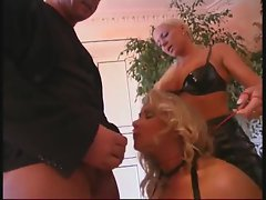 Blonde submits to a couple and sucks dick