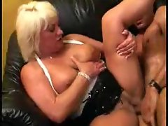 Chubby white milf sits on a dick