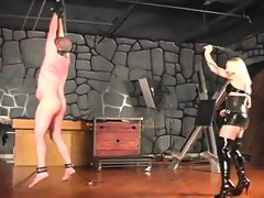 Mistress mercilessly whips her man (for real)