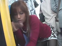 Japanese girl suck and fuck on bus