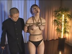 Japanese slut in bondage lactates