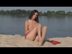 Hot naked teen chick in the river