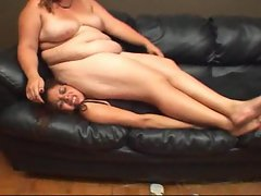 Fat chick lies on her slender friend