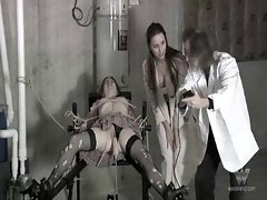 Experimenting on a tied up girl