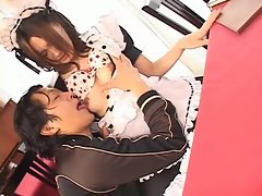 Asian French maid girl suck and fuck slut