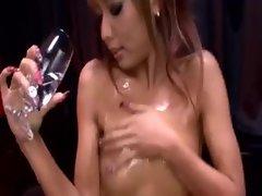 Japanese girl coats her body in oil