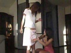 Asian girl pisses on her lover