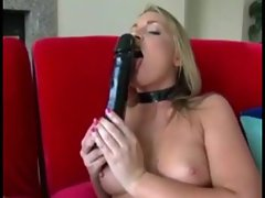 Blonde armed with huge toys masturbating