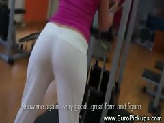 Hot babe at gym gets wet for money with very lucky guy